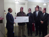 Saladin's new nobles present an $80,000 gift to Shriners Hospital for  Children - Chicago's Chief of Staff, Dr. Pernendu Gupta, at our recent  Fall Ceremonial in October.  The funds will be used to support two programs at the hospital.  Josh Brockway's beard approves this message.