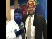 "With the ""Beast"" during the 2017 East-West Shrine Game players visit to the Tampa Shriners Hospital in January.  Each year the West-West Game players are joined by clowns, cosplayers (like this fellow playing Beast from Marvel's X-men), and other volunteers to spend a day visiting patients and families at our Tampa Hospital.  It is the 'event-of-the-year' for our Tampa patients and a great experience for our East-West players."