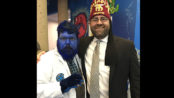 """With the """"Beast"""" during the 2017 East-West Shrine Game players visit to the Tampa Shriners Hospital in January.  Each year the West-West Game players are joined by clowns, cosplayers (like this fellow playing Beast from Marvel's X-men), and other volunteers to spend a day visiting patients and families at our Tampa Hospital.  It is the 'event-of-the-year' for our Tampa patients and a great experience for our East-West players."""